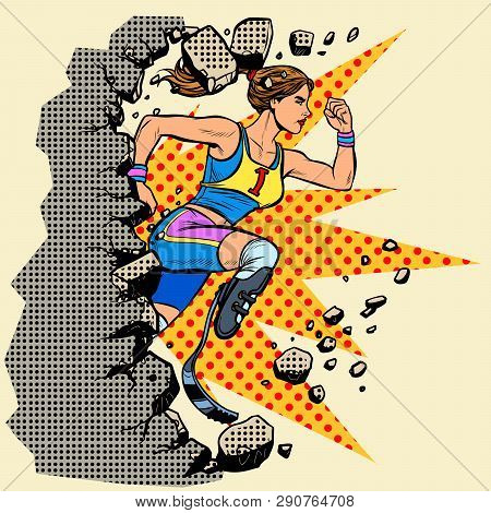 Breaks The Wall Disabled Woman Runner With Leg Prostheses Running Forward. Sports Competition. Pop A