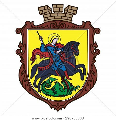 The Coat Of Arms Of The City Of Nizhyn, St. George On A Horse Kills A Dragon With A Spear