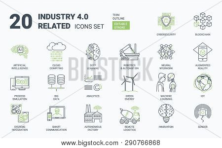 Industry 4.0 Simple Icons Set With Editable Stroke And Linear Style