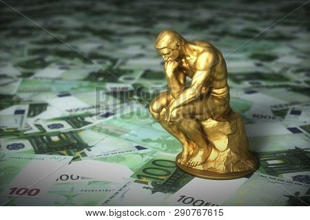 Golden Sculpture Of A Thinker Who Thinks Over Euro Banknotes. 3d Illustration.