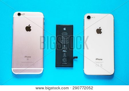 Rostov-on-don, Russia - March 17, 2019: Lithium Ion Black Battery From Apple Iphone 6 And Smartphone