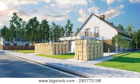 Moving boxes when moving to a new family home with garden (3D Rendering)