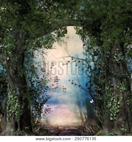 Stonepath Through A Magical Lush Forest Flanked By Ivy Covered Trees, 3d Render