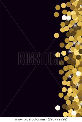 Shiny Background With Golden Confetti. Festive Golden Background With Golden Circles. Flying Golden