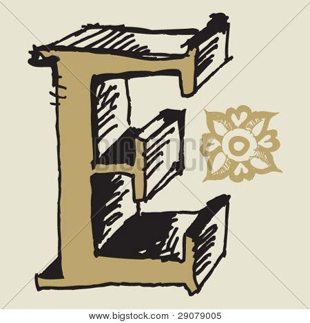 naive 3D alphabet, hand drawn letter E