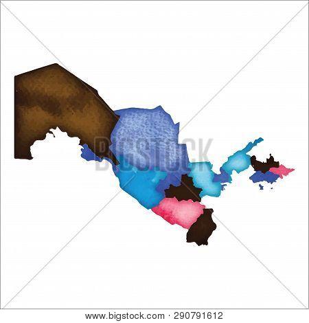 Map Of Uzbekistan. Colourful Watercolor Country Map. Enchanting Vector Illustration.