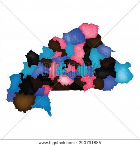 Map Of Burkina Faso. Colourful Watercolor Country Map. Beauteous Vector Illustration.