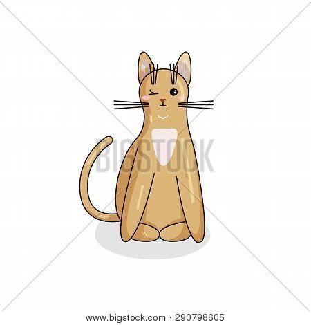 Vector Character Of Ceylon Cat In Kawaii Style