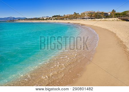 Platja Horta Santa Maria beach in Cambrils Tarragona at Costa Dorada of Catalonia