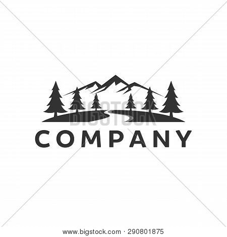Landscape Hills Logo Design Inspiration With Evergreen And River