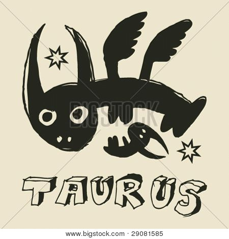archaistic horoscope, hand drawn sign of the zodiac taurus