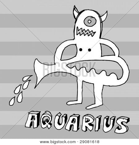 archaistic horoscope, hand drawn sign of the zodiac aquarius