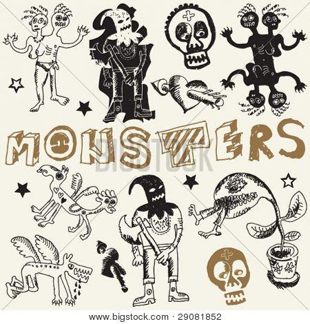 sketchy monstrous doodles, vector design elements