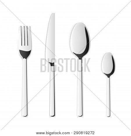 Creative Vector Illustration Top View Cutlery Set Of Silver Fork, Spoon, Knife Isolated On Transpare