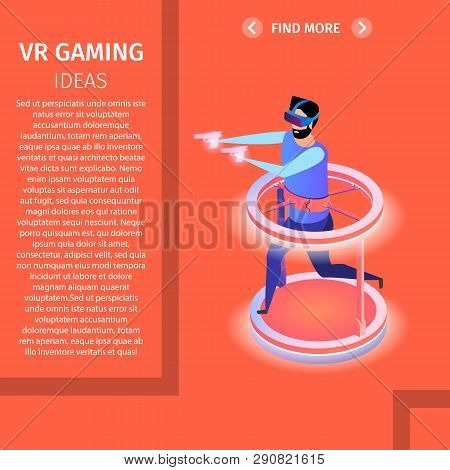 Vr Gaming Square Banner, Copy Space. Man Play Video Game In Glasses, Running And Shooting With Guns