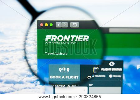 Los Angeles, California, Usa - 21 March 2019: Illustrative Editorial Of Frontier Website Homepage. F