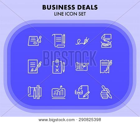 Business Deals Line Icon Set. Set Of Line Icons On White Background. Working Concept. Document, Offi