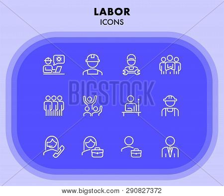 Labor Icons. Set Of Line Icons On White Background. Technician, Consultant, Call Center. Job Concept