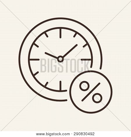 Loan Timing Line Icon. Clock And Percent Sign In Circle. Banking Concept. Vector Illustration Can Be
