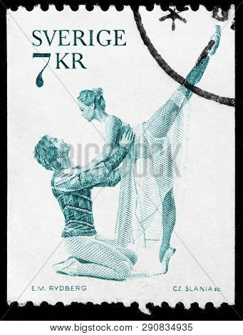 Luga, Russia - February 17, 2019: A Stamp Printed By Sweden Shows The Principal Dancer Per-arthur Se