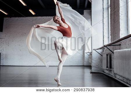 Beautiful Skilled Female Ballet Dancer Doing Pirouettes
