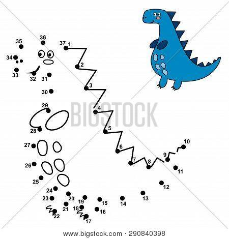 Connect The Dots And Draw A Cute Dinosaur. Numbers Game For Children. Vector Illustration