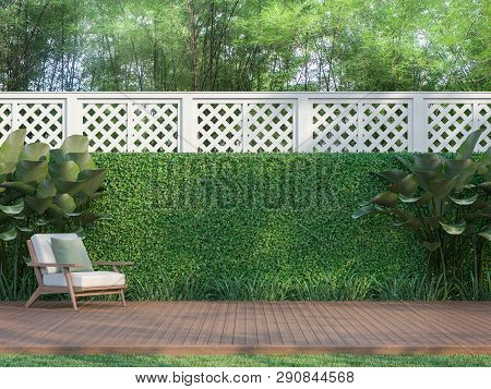 Outdoor Wood Terrace In The Garden 3d Render,  There Is A Wooden Floor Terrace,white Fence,furnished