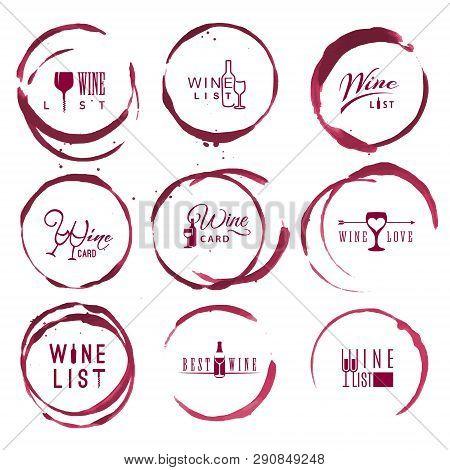 Wine Vintage Logo Set In Red Round Ring Stains
