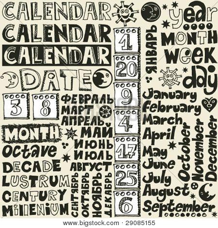 doodle calendar lettering, hand drawn design elements