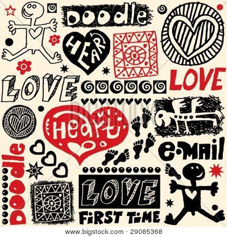 hand drawn design elements, crazy doodle set
