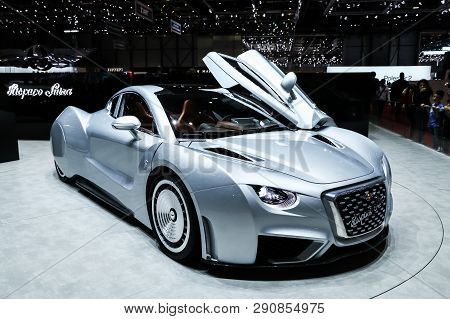Geneva, Switzerland - March 10, 2019:  Luxury Supercar Hispano Suiza Carmen Presented At The Annual