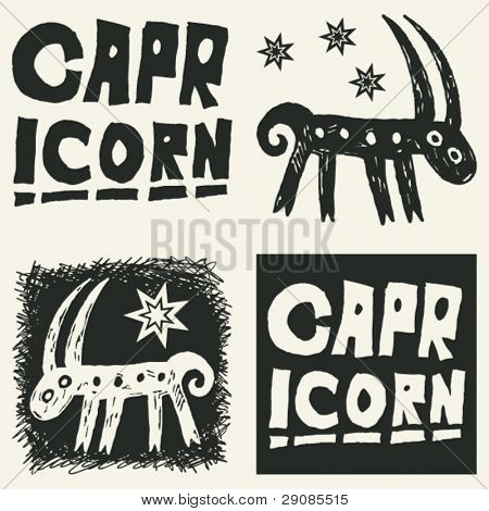 naive abstract horoscope, hand drawn sign of the zodiac capricorn