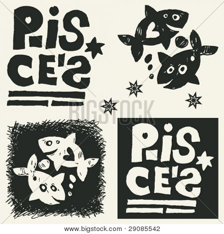 naive abstract horoscope, hand drawn sign of the zodiac pisces
