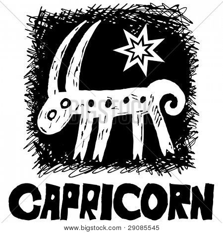 hand drawn sign of the zodiac capricorn isolated on white background