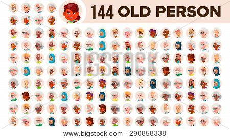 Old People Avatar Set Vector. Multi Racial. Face Emotions. Multinational User Person Portrait. Elder