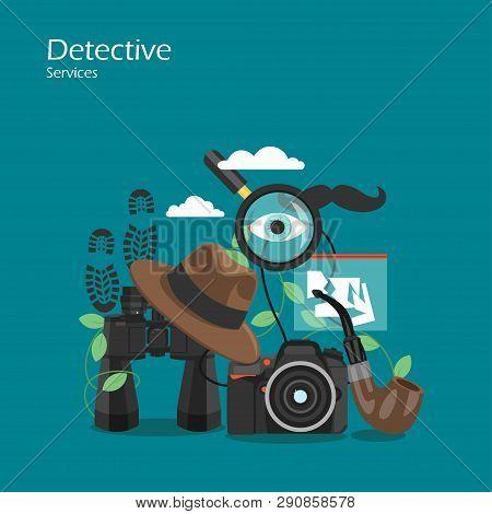 Detective Services Vector Flat Style Design Illustration