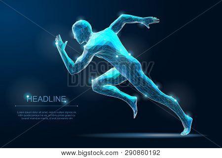 Sport Run Man. Sprinter Illustration. Start Moving Pose