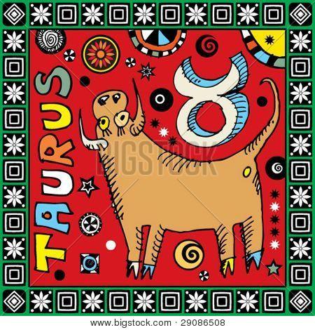 naive hand drawn horoscope, doodle sign of the zodiac taurus