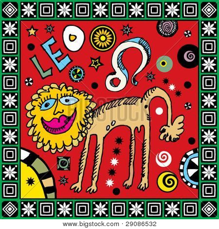 naive hand drawn horoscope, doodle sign of the zodiac leo