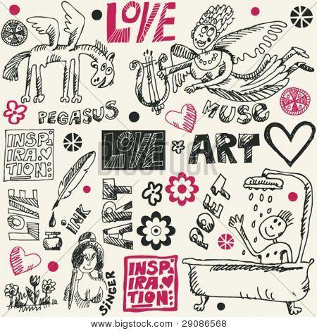 crazy art doodles, hand drawn design elements