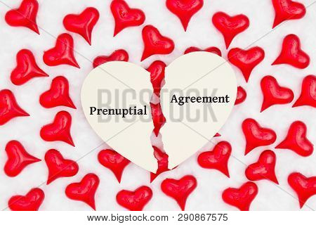 Prenuptial Agreement Card With Red Hearts On White Plush Textured Fabric