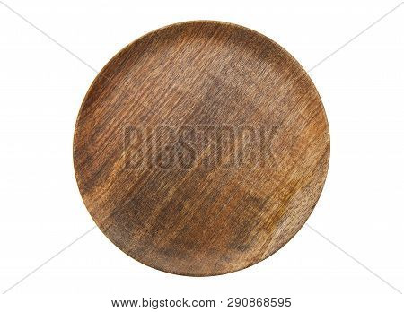 Top View Wooden Plate Isolated On White Background