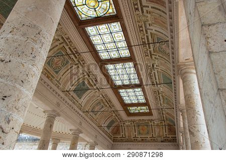 Italy, Montecatini Terme - April 25 2017: The View Of Ceiling Of Terme Tettuccio Spa In Piazzale Dom