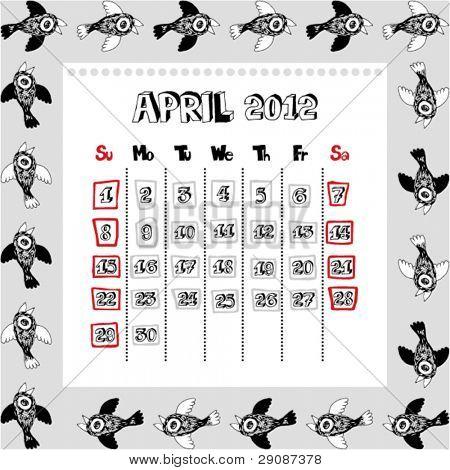 doodle calendar for year 2012, April
