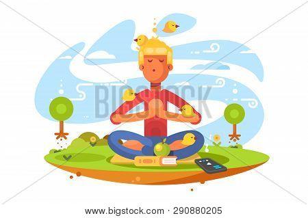 Young Man Meditating On Nature Vector Illustration