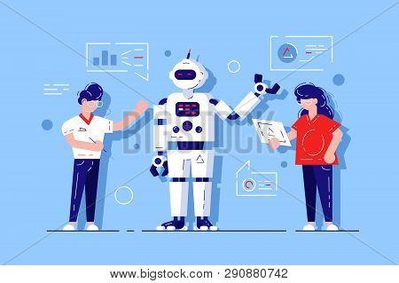 Man And Woman Developing Chat Bot. Ai