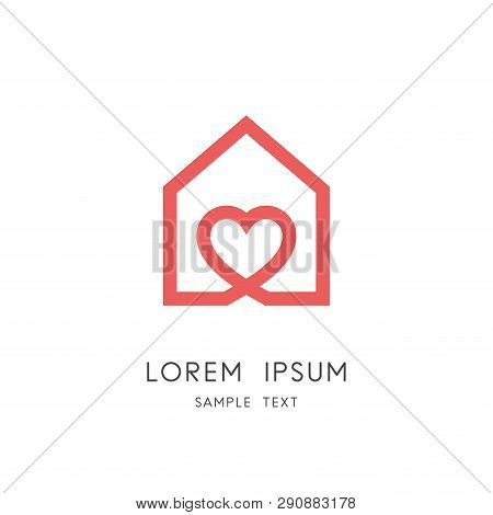 Sweet Home Logo - Outline House And Heart Symbol. Love And Family, Social Work And Charity Vector Ic