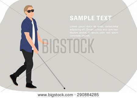 Cartoon People Character Design Banner Template Blind Young Man Walk With A Walking Cane. Ideal For
