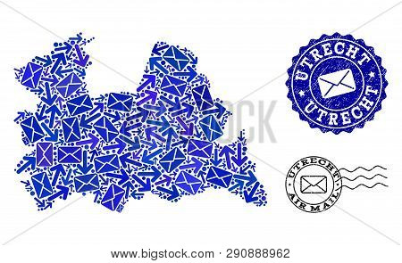 Post Combination Of Blue Mosaic Map Of Utrecht Province And Textured Seals. Vector Seals With Unclea