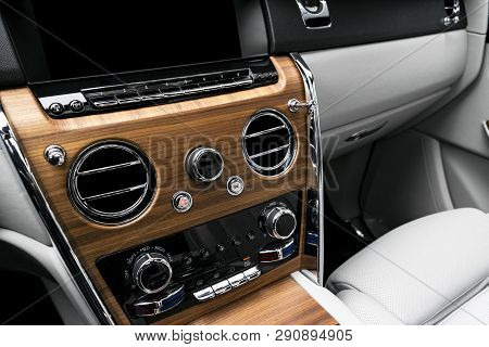 Modern Luxury Car White Leather Interior With Natural Wood Panel. Part Of Leather Car Seat Details W